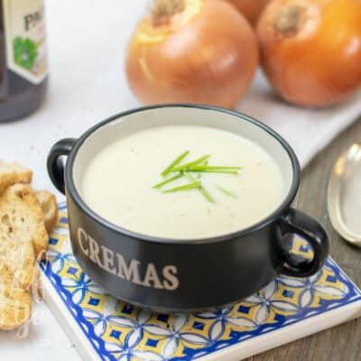 Crema de cebolla y cerveza Thermomix
