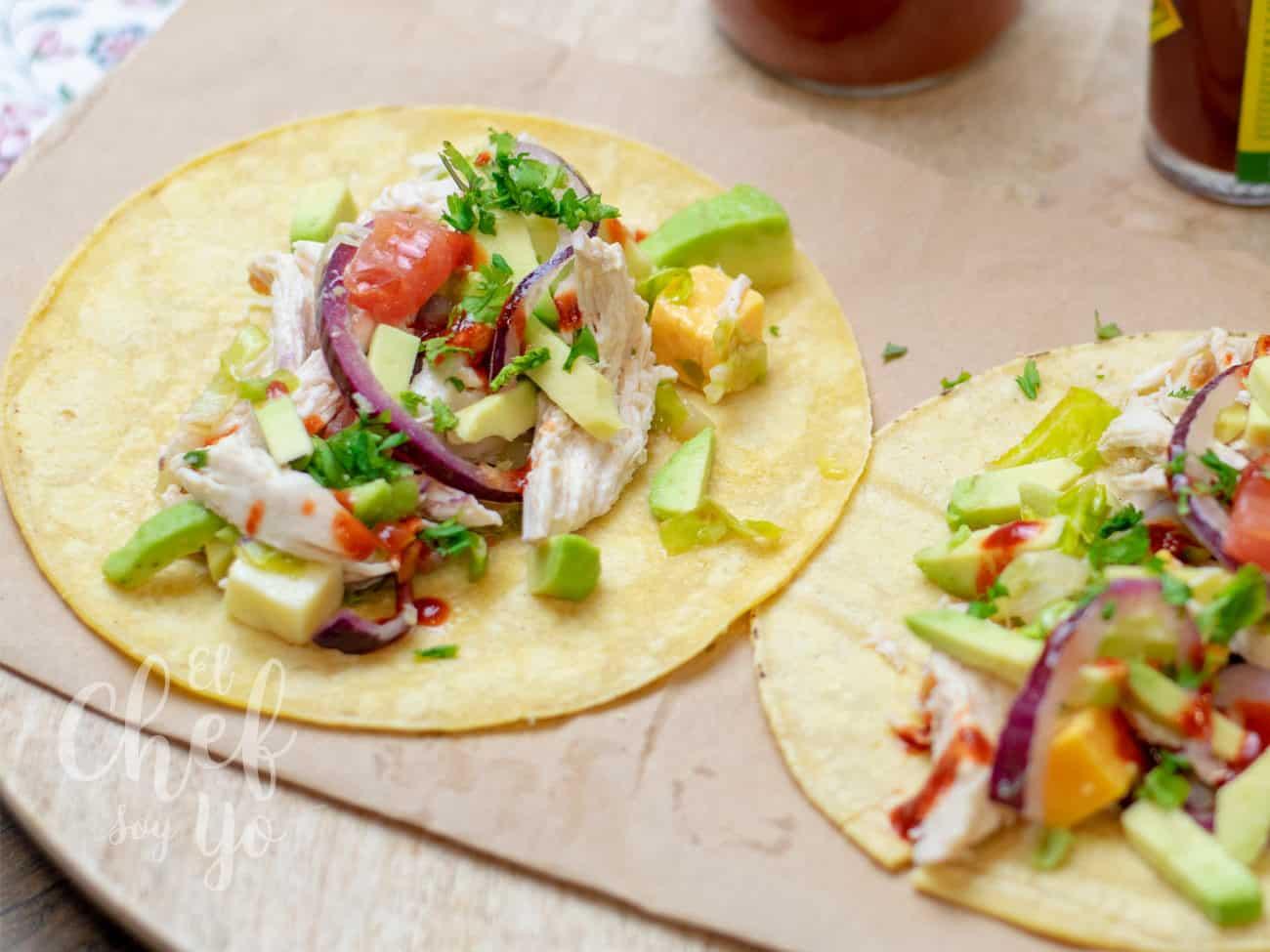Tacos de pollo blanco